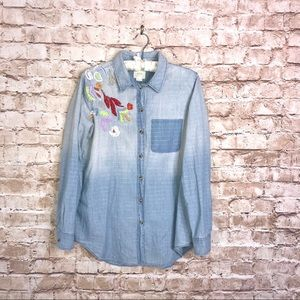 Anthropologie Maeve Boise Chambray Embroider Top